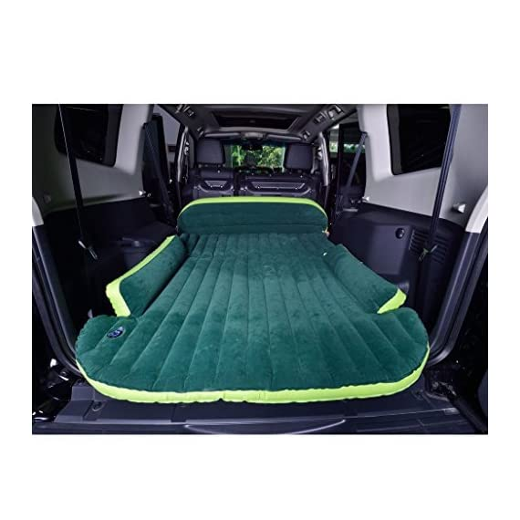 WOLFWILL SUV Dedicated Mobile Cushion Extended Travel Mattress Air Bed Inflatable Thicker Back Seat (Green) 1 The car inflation bed is divided into three parts, which can be blew up separately, and the user can adjust the inflation volume as needed. Easy to carry, easy to deflation, the mattress can be inflated fully and deflated convenient within two minutes Unfolded volume: length 71-59 inch; width 51-46.5 inch; Thickness: 2-4.7 inch. Folded Volume: 11x9.4x6 inch. Heavy duty travel mattress , streamline design, three-piece folding, special design on the position of tires Made of compound, breathable and eco-friendly PVC material, which is non-toxic, smell-less, safe. Very soft and comfortable, the surface feels like feather. Reversible plus material with double-sided flocking, environment-friendly