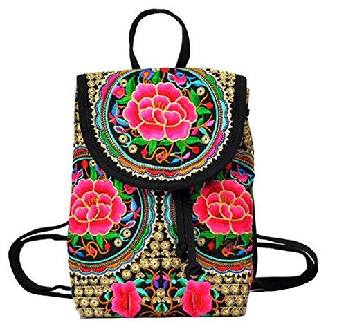 Vanbuy Women's Embroidery Backpack Girls Canvas Handmade Ethnic Style Rucksack Vintage Shoulder Bags Satchel Rucksack Z05-02