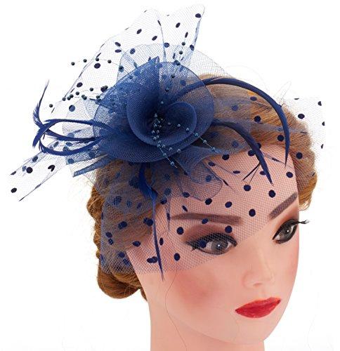 Big Flower Mesh Bow Feather Women Fascinator Dot Veil Hair Clip Wedding (Blue)