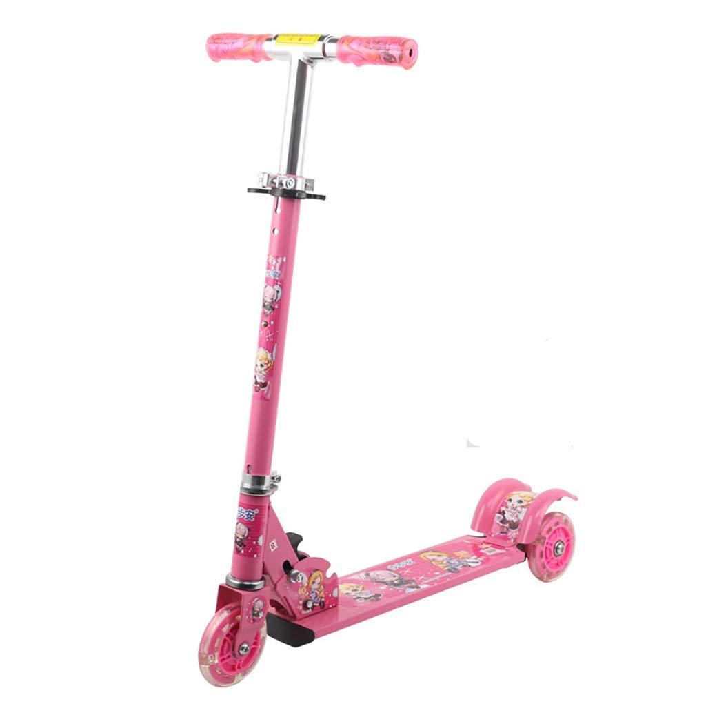 Rff Dreirädriger Tretroller für Kinder von 2 bis 8 Jahren mit einem höhenverstellbaren, zusammenklappbaren LED-Lichtrad zur Unterstützung von Mehrfarben bei einem Gewicht von bis zu 50 kg (Farbe   A) B