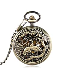 Elegant Pocket Watch, Carving Double Crane Pocket Watch for Men, Unisex Skeleton Mechanical Hand Wind Pocket Watch Gift - JLYSHOP