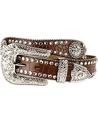 M&F Western Women's Scalloped Croco Concho Belt