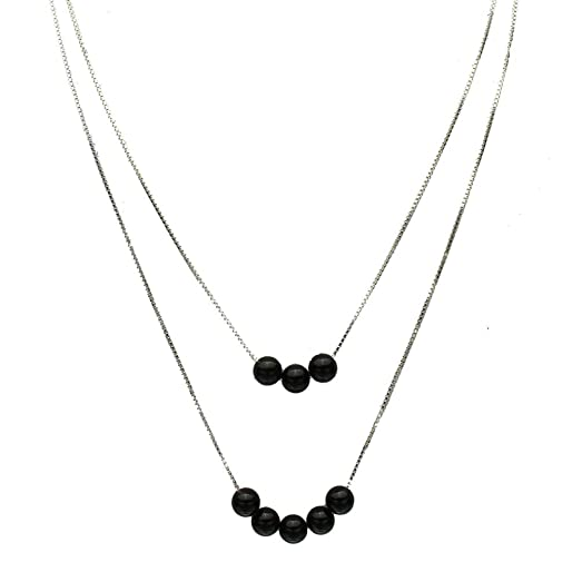 Sterling Silver Natural Black Onyx Stone Teardrop Pendant Chain Necklace, 16
