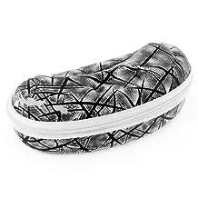 Mini Black Dots Pattern White Faux Leather Zipper Closure Eyeglasses Case Box