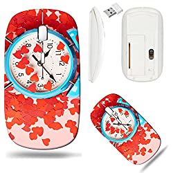 Liili Wireless Mouse White Base Travel 2.4G Wireless Mice with USB Receiver, Click with 1000 DPI for notebook, pc, laptop, computer, mac book ID: 27455451 Bright blue clock covered with multiple red h