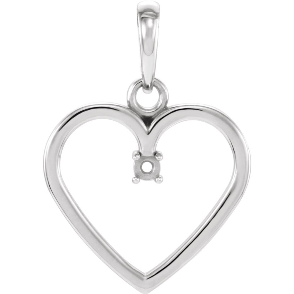 DiamondJewelryNY Sterling Silver 1.7mm Heart Pendant Mounting