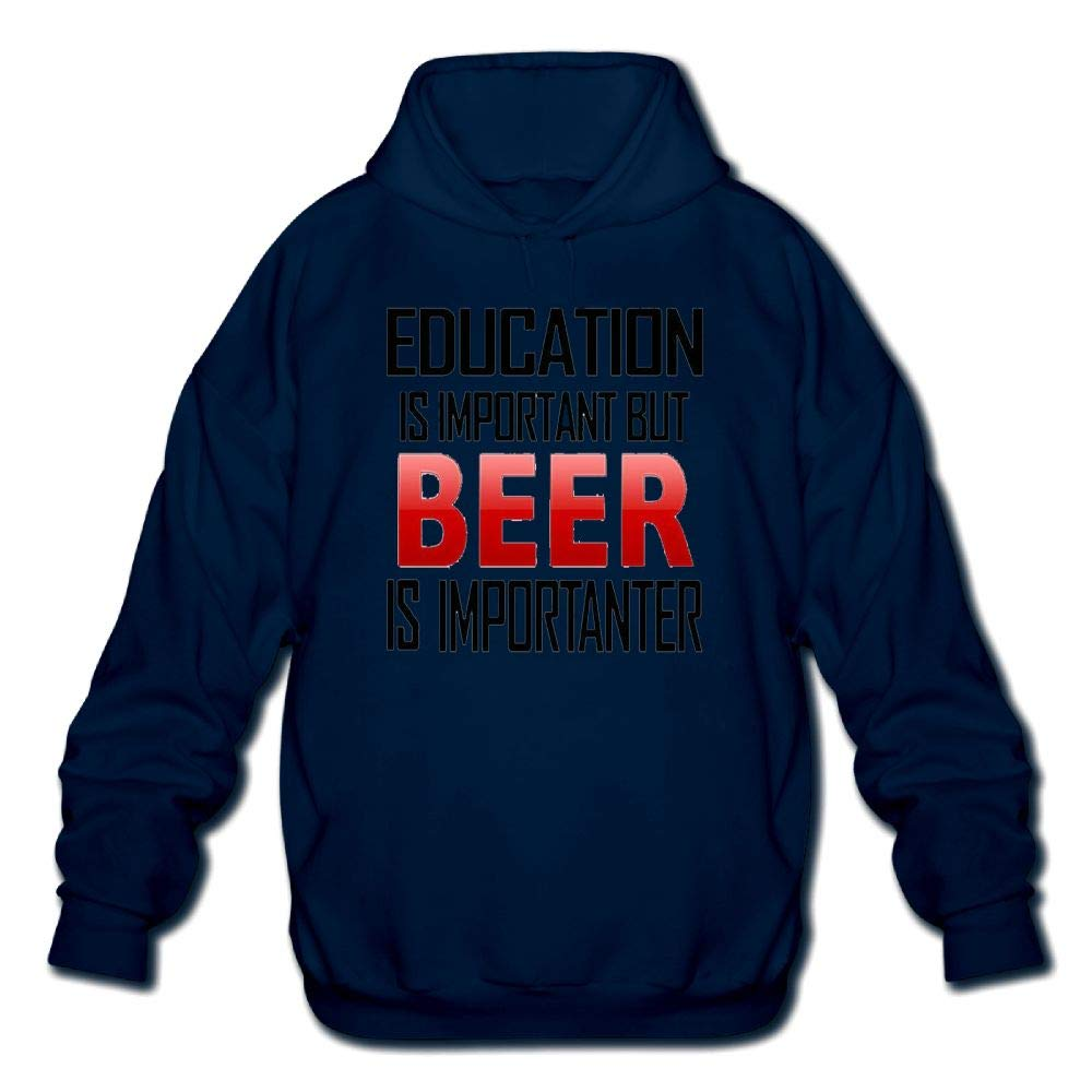 Sweatshirt Lixiaoyan Mens Long Sleeve Cotton Hoodie Education is Important But Beer is Importanter