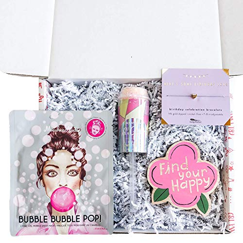 STRONG self(ie) Birthday Love Birthday Gift Box for Girls with Sheet Mask, 14K Gold Dipped Charm Bracelet, Desk Decor and Bath Bomb Popper - Birthday Box for Teens and Tween - Dipped Decor