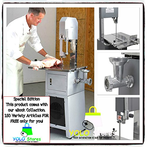 Meat Grinder Cutter Free Standing Meat Cutting Saw Sausage Cut Band Mincer Stuffer Maker UL Listed By YOLO Stores