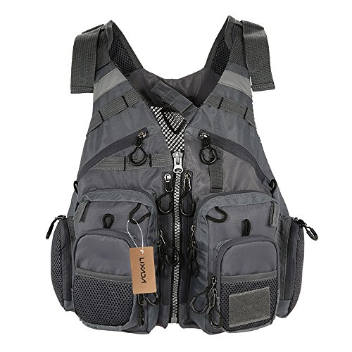 Lixada Fly Fishing Vest-Fishing Safety Life Jacket Breathable Polyester Mesh Design Fishing Vest for Swimming Sailing Boating Kayak Floating
