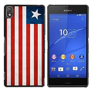 TopCaseStore / la caja del caucho duro de la cubierta de protección de la piel - Liberia Grunge Flag - Sony Xperia Z3 D6603 / D6633 / D6643 / D6653 / D6616