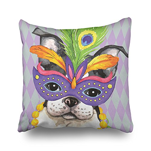 Decorativepillows 18 x 18 inch Throw Pillow Covers,Mardi Gras Boston Terrier Pattern Double-Sided Decorative Home Decor Indoor/Outdoor Garden Sofa Bedroom Car Kitchen Nice Gift from Kutita