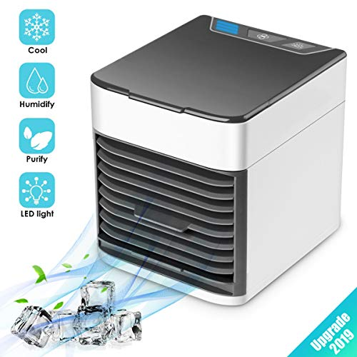 ZH_TRADING Air Cooler Fan Portable Air Conditioner Fan Humidifier Purifier 3 in 1 Evaporative Cooler with 3 Speed Mini AC USB Cooling Desktop Fan for Bedroom Travel Office