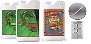 Advanced Nutrients Iguana Juice Bloom & Grow Organic 4L & Sensi Cal-Mag 4L Bundle with Twin Canaries Conversion Chart and 3mL Pipette