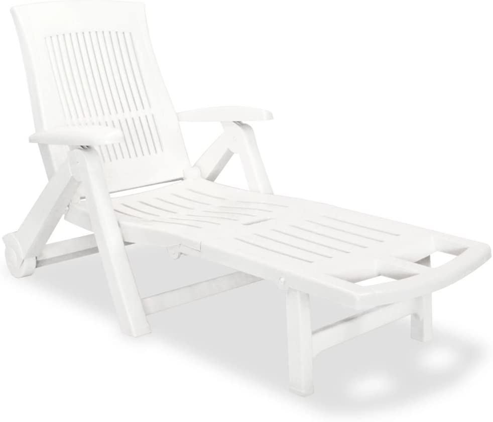 Festnight Outdoor Patio Chaise Lounge Chair with Wheels and Armrest 5 Position Backrest Adjustable Solid Plastic Frame Sun Lounger Bed Reclining Chair Pool Backyard Garden Balcony Furniture (White)