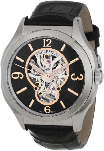 Philip Stein Men's 17A-SKFB-AB Prestige Automatic Black Alligator Strap Watch