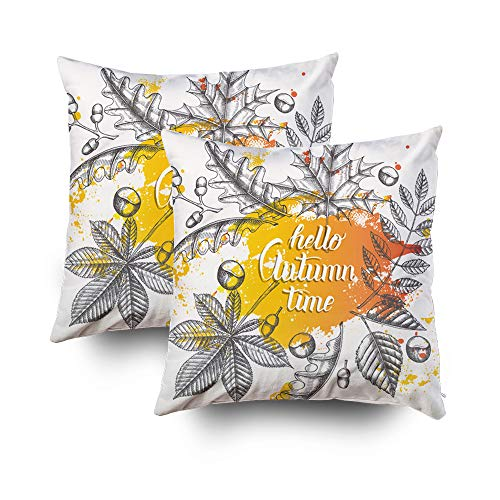Shorping Decorative Pillow Covers 18X18 Inch 2 Pack Throw Pillows Pillows Written Trendy Quote Autumn Background Leaves Stroke Engraving Poster Decorative Throw,Cushion Cover for Home Sofa Bedding