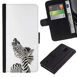 YiPhone /// Tirón de la caja Cartera de cuero con ranuras para tarjetas - Zebra Sonreír divertido - Samsung Galaxy Note 4 IV