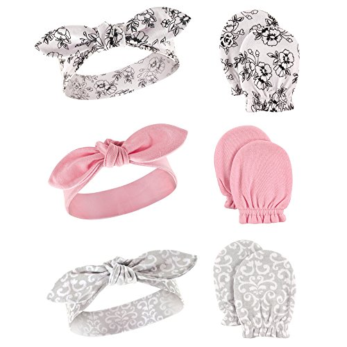 Hudson Baby  Headband and Scratch Mitten Set, 6-piece Accessory, floral, One Size