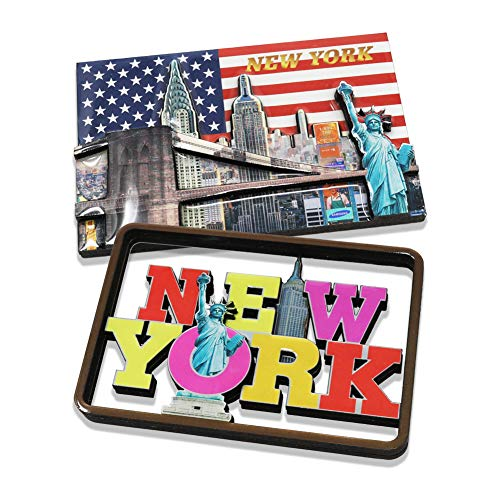 2x New York Skyline, US American Flag, Statue of Liberty, Empire State, Chrysler Building & One World Trade Center NY Souvenir Collectible Fridge 3D Magnet (Set of 2 B)