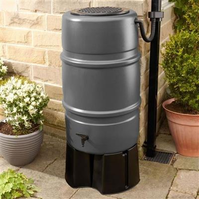 Harcostar Grey 227 litre Water Butt & Raintrap Diverter + Stand Straight Manufacturing