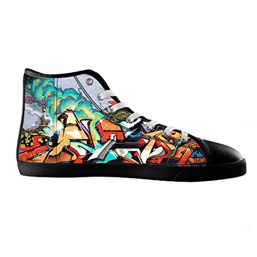 Custom Graffiti Mens Canvas shoes Schuhe Lace-up High-top Sneakers Segeltuchschuhe Leinwand-Schuh-Turnschuhe D