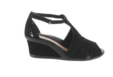 6de282a2ffc5 Earth Suede Peep-Toe Wedge Sandals Curvet Black 5M New A288114