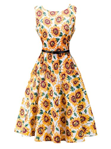 Hepburn Sundress Coolred Style Retro Audrey Printing Fashion Women 4 Cotton Z8nf4qYn