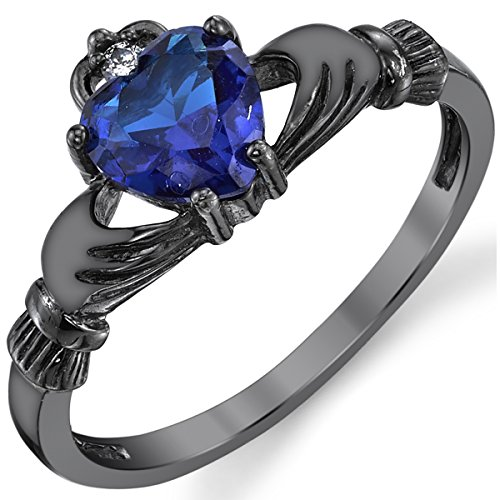 Black Rhodium Plated Solid Sterling Silver Irish Claddagh Engagement Ring Simulated Sapphire Blue Color Heart Shape Cubic Zirconia 5 (Rhodium Color Plated)