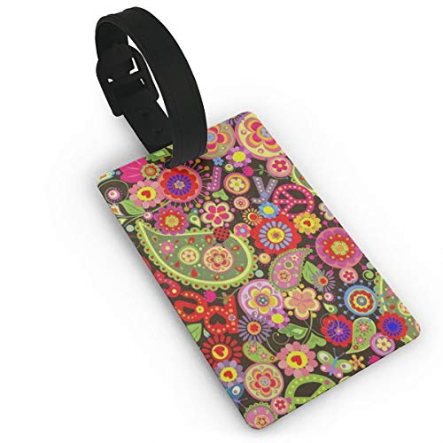 - Luggage Tags Travel ID Label Leather For Baggage Suitcase Colorful Flower Print Peace Sign Business Card Holder