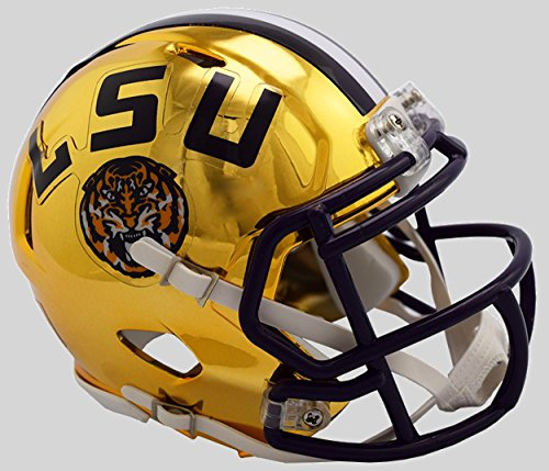 Riddell NCAA LSU Tigers Unisex LSU Tigers Helmet Replica Mini Speed Style Chrome Alternatehelmet Replica Mini Speed Style Chrome Alternate, Team Colors, One Size
