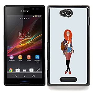 - Redhead Smart Hipster Feminist Education/ Duro Snap en el tel????fono celular de la cubierta - Cao - For Sony Xperia C S39h C2305