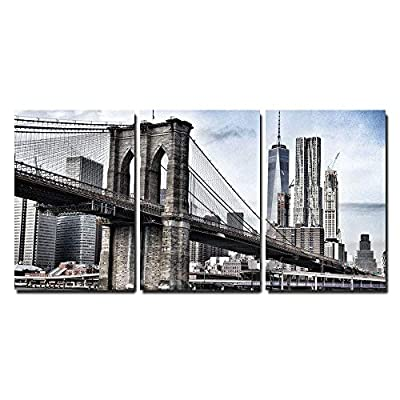 3 Piece Canvas Wall Art - Brooklyn Bridge in Vintage Color,New York - Modern Home Art Stretched and Framed Ready to Hang - 24