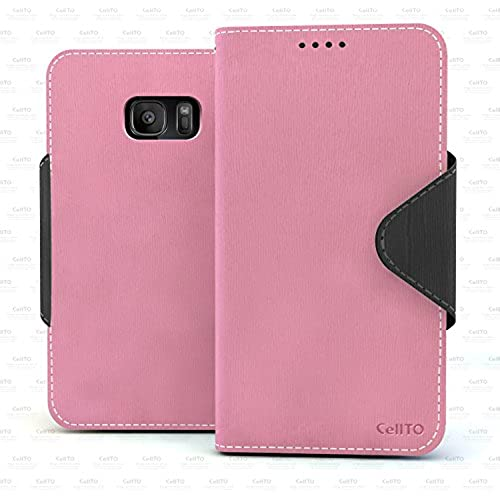 Galaxy S7 Case, Cellto PU Leather Wallet [Pink/Black] Cover Stand and Reversible Magnetic Flap [Lifetime Warranty] Flip Cover for Samsung Galaxy S7 Sales