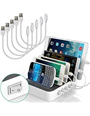 IMLEZON Charging Station With Cables 5V 40W 5-Port Multi Port USB Charger Station Organizer (White)