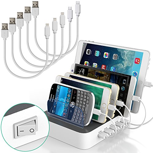 Multi Device USB Charging Station Organizer for Multiple Devices IMLEZON 5-Port 5V 8A Total 40W (White, including short cables 3 for Apple and 2 for Android) (Multi Device Usb)