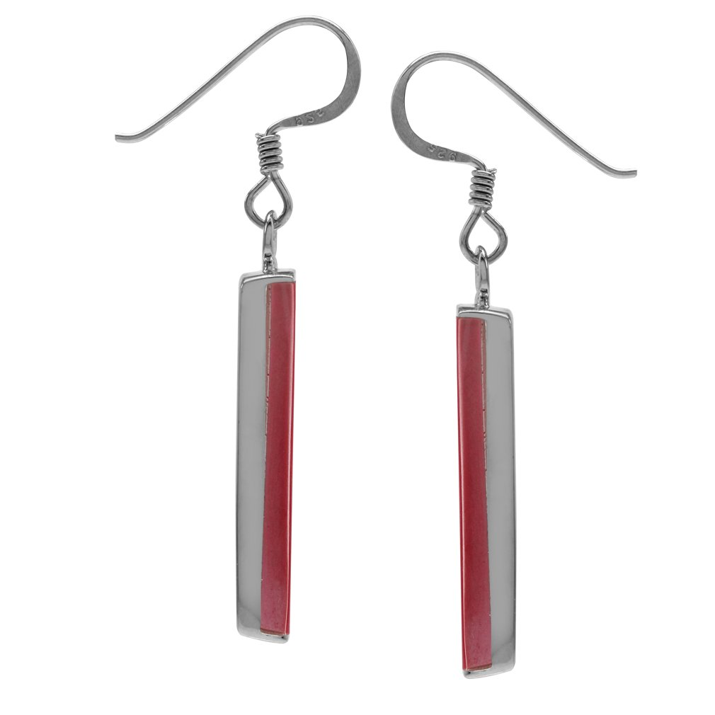 Mondern Long Bar Linear 925 Sterling Silver Dangle Hook Earrings