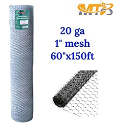 "Galvanized Hexagonal Poultry Netting, Chicken Wire 60""x150'- 1"" 20GA (also sold in 25' / 50' length)"