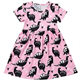 Toddler Baby Girl Summer Dress Dinosaur Printed Skirt Small Fly Sleeve Outfits Clothes Set (Pink, 5-6 Years)