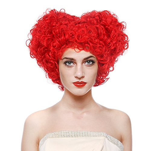 STfantasy Red Queen of Heart Wigs Curly Beehive Synthetic Hair for Women Girls Halloween Cosplay Anime Party with Cap