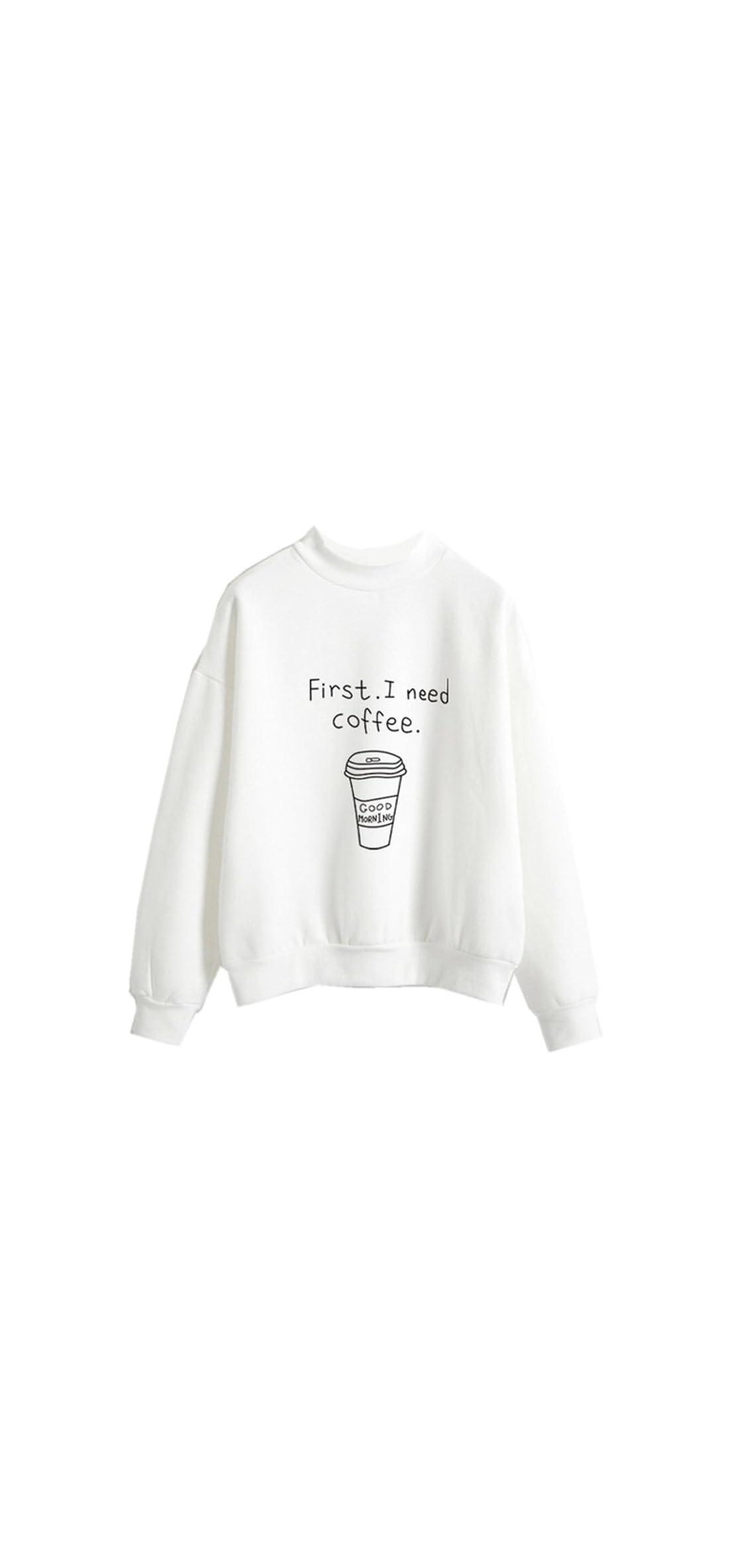 Harajuku Pastel Sweater First I Need Coffee Cute Tumblr Shirts