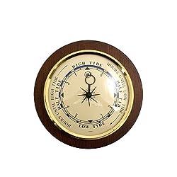 Bey Berk Brass Tide Clock on Cherry Wood