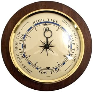 Bey Berk Brass Tide Clock on Cherry Wood