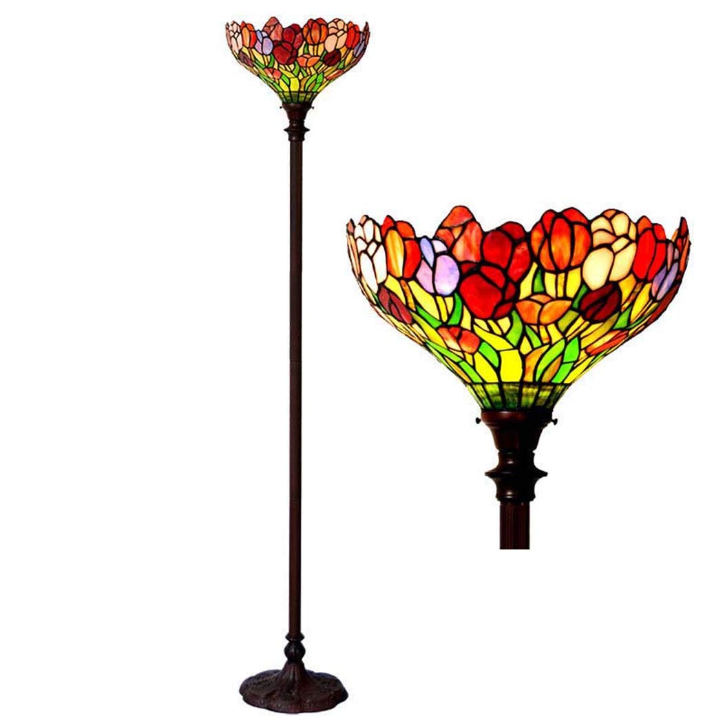 DSHBB Floor Lights, 16 inch Tiffany Style Tulip Floor lamp with Stained Glass lampshade, Standing Light for Living Rooms,bar,Bedrooms, E272 40W