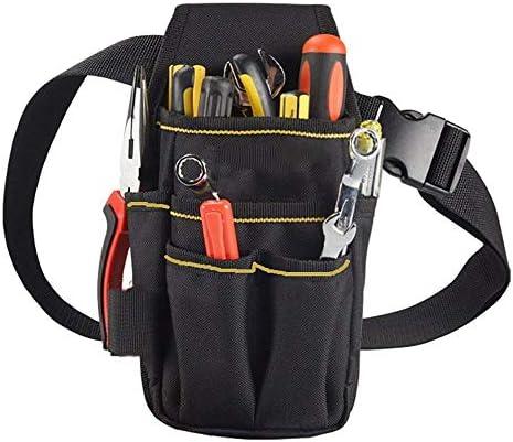 ツールベルト 軽量調節可能なハードウェアツールベルトバッグツールの収納袋大容量メンテナンスツールバッグブラック 大工のエプロン (Color : Black, Size : 25.5x12.5x3cm)