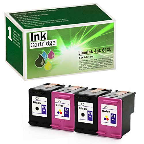 - Limeink 4 Remanufactured Ink Cartridge Replacement 61XL High Yield for 1000 1010 1050 1055 1510 1512 2000 2050 2510 2512 2514 2540 2542 2543 2549 3000 3050 3050A 3054A 3051A Envy (2 Black, 2 Color)