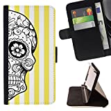Graphic4You Mexican Sugar Skull Death Lines Pattern (Yellow) Thin Wallet Card Holder Leather Case Cover for Huawei Nova