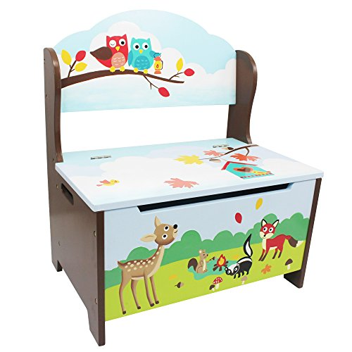Fantasy Fields - Enchanted Woodland Thematic Kids Storage Bench  | Imagination Inspiring Hand Crafted & Hand Painted Details | Non-Toxic, Lead Free Water-based Paint