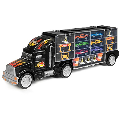- Best Choice Products Kids 2-Sided Transport Car Carrier Semi Truck Toy w/ 18 Cars and 28 Slots - Multicolor