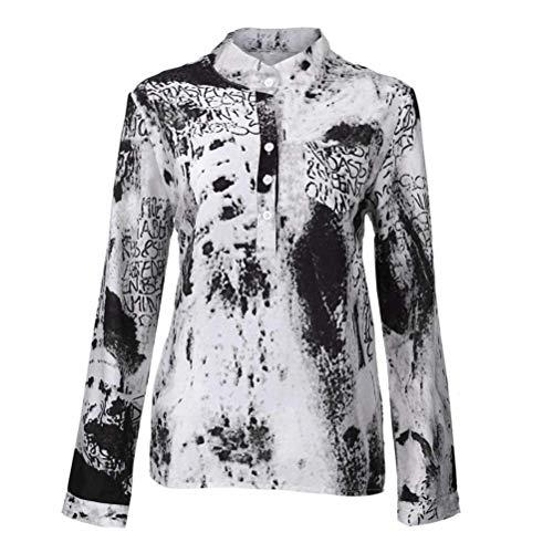 Col Grande Grau Tops breal avec Imprim Debout Vintage Femme avec Manches Button Automne Manche Casual Chemise Printemps Taille Elgante Mode Shirts Longues Blouse Shirt Longue wnSxR6qZB7